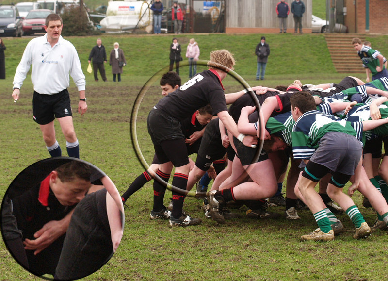 According to the ref it was legal for the oppo s/h to come round the back .... but not for him to grab Tom BEFORE he touched the ball (stuck in the second row!)
