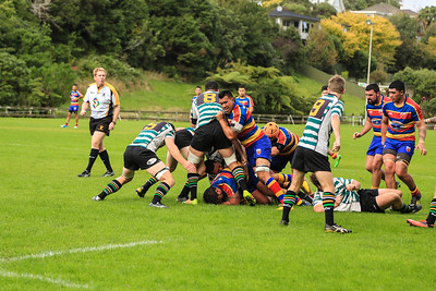 Rugby match between Tawa and Old Boys-University (Premier reserve) played at Lyndhurst Park, Tawa, Wellington on 18 April 2015.  Won by Tawa 16-13.