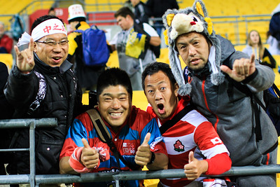 Sunwolves fans during the Super Rugby union game between Hurricanes and Sunwolves, played at Westpac Stadium, Wellington, New Zealand on 27 April 2018.   Hurricanes won 43-15.