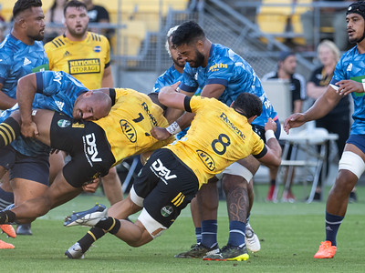 Action during the super rugby match, Hurricanes v Blues, played in Sky Stadium, Wellington, New Zealand, 27 February 2021. Final score 31-16 to the Blues.