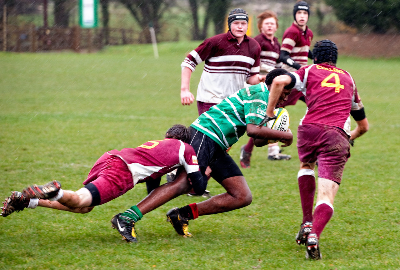 Seb, fully committed to the tackle
