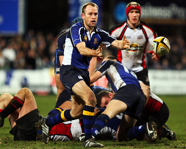 Chris Whittaker releases the ball during Leinster's match against Edinburgh at donnybrook. Leinster won the match 13-6.