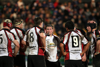 Andrew Kelly, Edinburgh's hooker, chews the cud during a break in their match against Leinster. Leinster won the match 13-6.