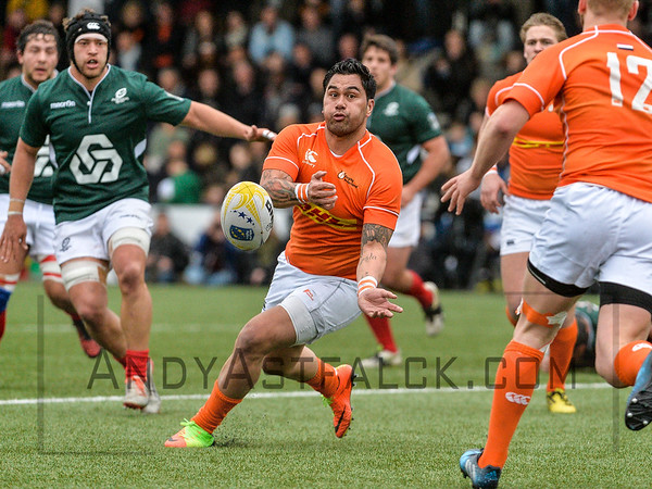 AMSTERDAM, NETHERLANDS MARCH 04: Storm Carroll of the Netherlands during the Rugby Europe Trophy match between the Netherlands and Portugal at the National Rugby Centre Amsterdam on March 04, 2017 in Amsterdam, Netherlands