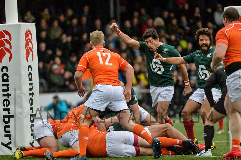 AMSTERDAM, NETHERLANDS MARCH 04: Tomas Appleton of Portugal celebrates a Portugal try during the Rugby Europe Trophy match between the Netherlands and Portugal at the National Rugby Centre Amsterdam on March 04, 2017 in Amsterdam, Netherlands