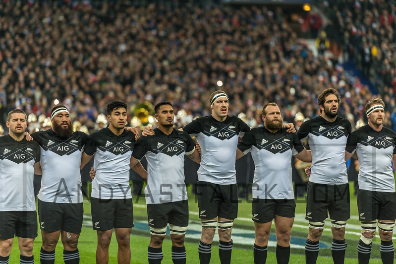 PARIS, FRANCE - NOVEMBER 26: New Zealand All Black players (R-L) Dane Coles, Charlie Faumuina, Rieko Ioana, Merome Kaino, Brodie Retallick, Joe Moody, Sam Whitelock and Kieran Read before the start of theinternational friendly test match between France and New Zealand (All Blacks) at Stade de France on November 26, 2016 in Saint-Denis near Paris, France.