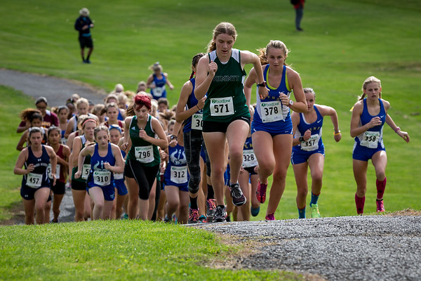 Courtney Chambers leads the pack on the 1st hill.