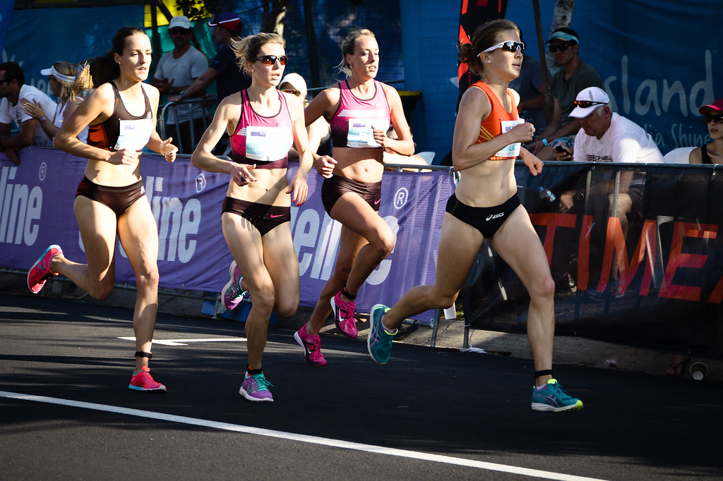 "Alternate Processing: ""Hard Depth"" - Jessica Trengrove, Susan Kuijken, Zoe Buckman, Lucy Van Dalen - 2013 Noosa Women's Asics 5k Bolt Run - 2013 Super Saturday at the Noosa Triathlon Multi Sport Festival, Noosa Heads, Sunshine Coast, Queensland, Australia. Camera 1. Photos by Des Thureson - <a href=""http://disci.smugmug.com"">http://disci.smugmug.com</a>"