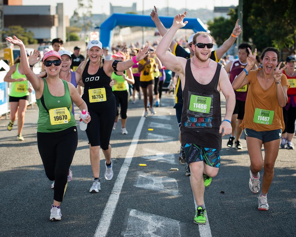 """2013 Sunday Mail Suncorp Bridge to Brisbane Fun Run; Sir Leo Hielscher Bridge (Gateway Bridge) to RNA Showgrounds; 1 September. Camera 1. Photos by Des Thureson:  <a href=""""http://disci.smugmug.com"""">http://disci.smugmug.com</a>."""