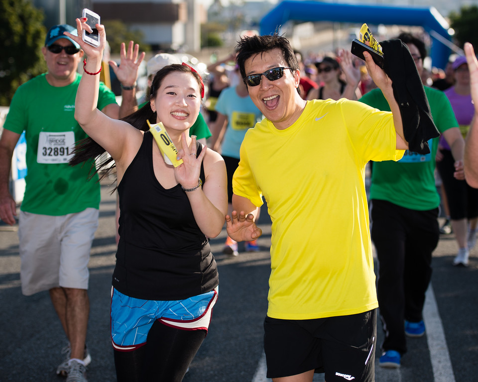 "Nice expressions from the participants - Way to Go! - 2013 Sunday Mail Suncorp Bridge to Brisbane Fun Run; Sir Leo Hielscher Bridge (Gateway Bridge) to RNA Showgrounds; 1 September. Camera 1. Photos by Des Thureson:  <a href=""http://disci.smugmug.com"">http://disci.smugmug.com</a>."