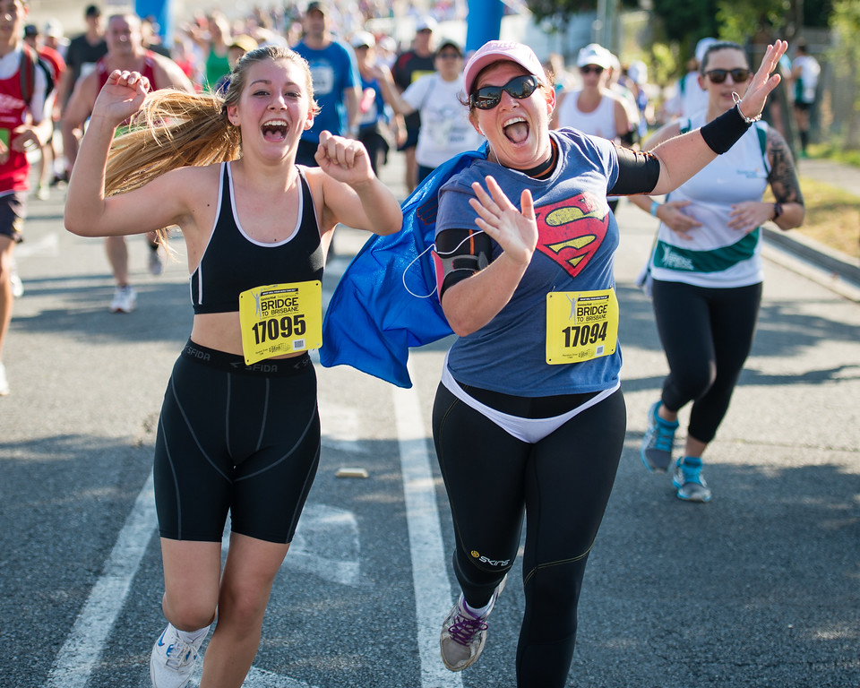 "I love the costumes and the effort people put in - Nice expressions from the participants - Way to Go! - 2013 Sunday Mail Suncorp Bridge to Brisbane Fun Run; Sir Leo Hielscher Bridge (Gateway Bridge) to RNA Showgrounds; 1 September. Camera 1. Photos by Des Thureson:  <a href=""http://disci.smugmug.com"">http://disci.smugmug.com</a>."