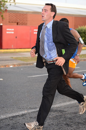 Running in a Suit - 2013 Sunday Mail Suncorp Bridge to Brisbane Fun Run; Sir Leo Hielscher Bridge (Gateway Bridge) to RNA Showgrounds; 1 September. Camera 1. Photos by Des Thureson:  http://disci.smugmug.com.