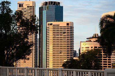 Brisbane City Skyline in the early morning sun - 2017 Sunday Mail Brisbane to Brisbane Fun Run, Sunday 27 August; Queensland, Australia. Camera 1. Photos by Des Thureson - http://disci.smugmug.com