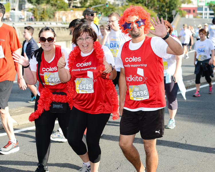"26460, 26429, 26436, Coles supporting redkite - 2017 Sunday Mail Brisbane to Brisbane Fun Run, Sunday 27 August; Queensland, Australia. Camera 1. Photos by Des Thureson - <a href=""http://disci.smugmug.com"">http://disci.smugmug.com</a>"