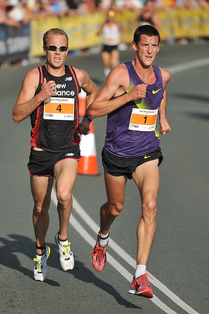 Ben St Lawrence (4) and Collis Birmingham - Noosa 5k Bolt, Noosa Multi Sport Festival, Noosa Heads, Sunshine Coast, Queensland, Australia; 30 October 2010.