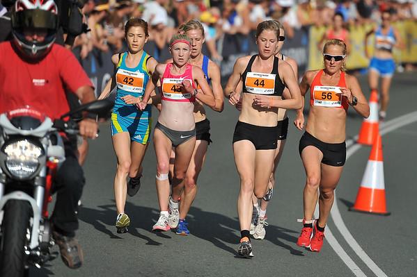 L to R: Lara Tamsett, Clare Geraghty, Georgina Clarke and Belinda Martin - Noosa 5k Bolt, Noosa Multi Sport Festival, Noosa Heads, Sunshine Coast, Queensland, Australia; 30 October 2010.