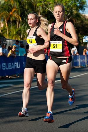 Women's 4th place: Melanie Daniels along with Kaila MCKNIGHT (#51) - 2011 Men's & Women's Asics 5k Bolt (Run) - Super Saturday at the Noosa Triathlon Multi Sport Festival, Noosa Heads, Sunshine Coast, Queensland, Australia; 29 October 2011.