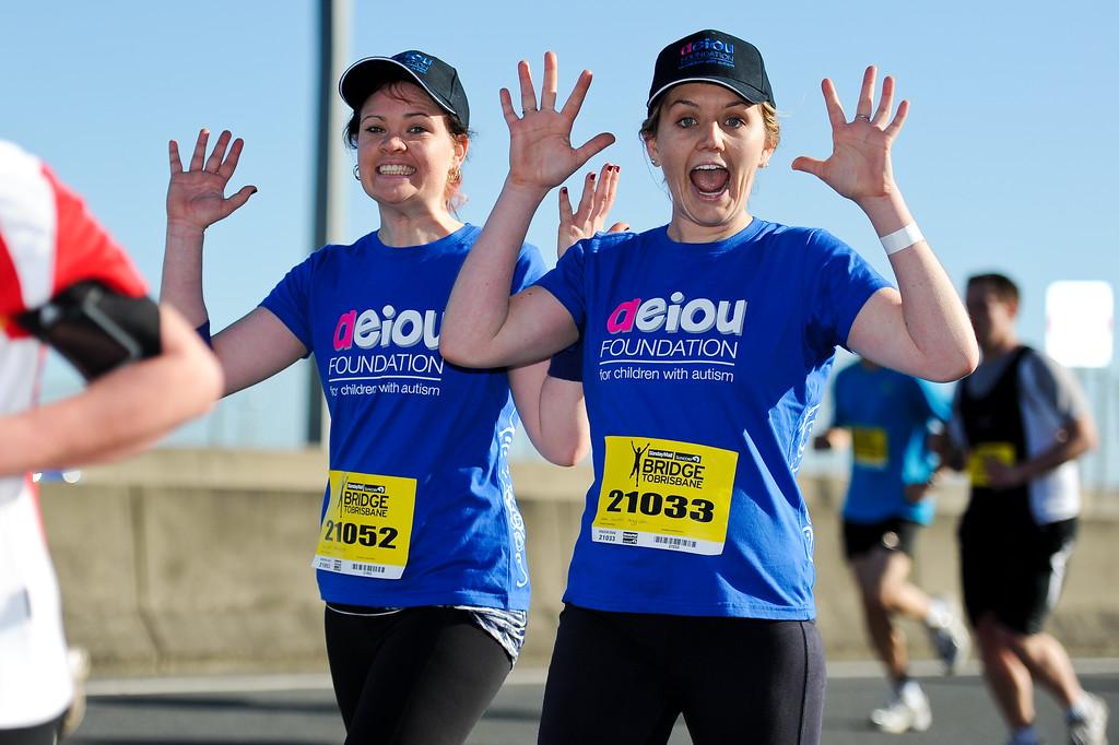 """The AEIOU Blue Crew 2011 achieved the highest money raising total of $28,283.43. Congratulations! 2011 Bridge to Brisbane Fun Run; Sir Leo Hielscher Bridge (Gateway Bridge) to RNA Showgrounds. Photos by Des Thureson:  <a href=""""http://disci.smugmug.com"""">http://disci.smugmug.com</a>."""