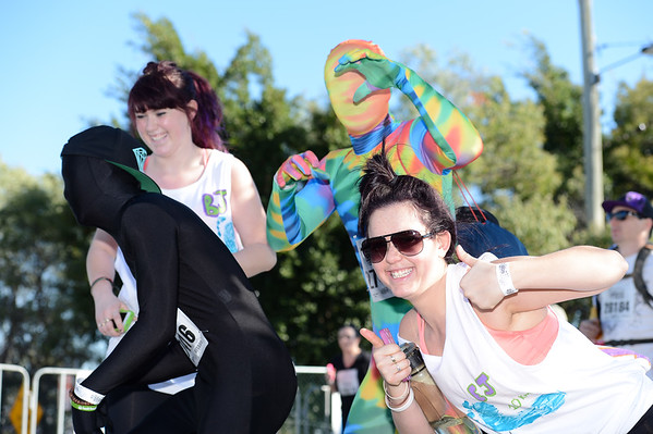 "Morphsuits - 2012 Sunday Mail Suncorp Bridge to Brisbane Fun Run; Sir Leo Hielscher Bridge (Gateway Bridge) to RNA Showgrounds. Camera 1. Photos by Des Thureson:  <a href=""http://disci.smugmug.com"">http://disci.smugmug.com</a>."