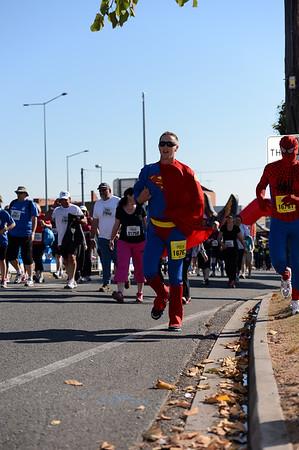 "Superman & Spiderman - 2012 Sunday Mail Suncorp Bridge to Brisbane Fun Run; Sir Leo Hielscher Bridge (Gateway Bridge) to RNA Showgrounds. Camera 1. Photos by Des Thureson:  <a href=""http://disci.smugmug.com"">http://disci.smugmug.com</a>."