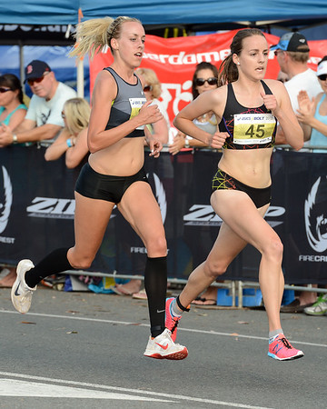 Lucy Van Dalen, Susan Kuijken - 2012 ASICS Bolt 5km Run (Asics 5k Bolt) - Men & Women; Mooloolaba, Sunshine Coast, Queensland, Australia; 03 November 2012. Photos by Des Thureson