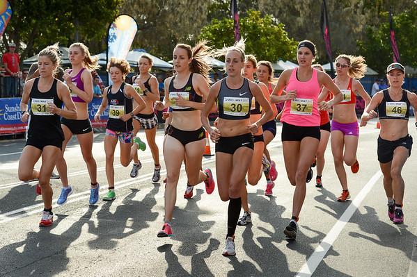Georgina Clarke, Lucy Van Dalen, Susan Kuijken, Shelley Kelly, Amanda Watson - 2012 ASICS Bolt 5km Run (Asics 5k Bolt) - Men & Women; Mooloolaba, Sunshine Coast, Queensland, Australia; 03 November 2012. Photos by Des Thureson