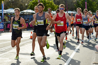 Collis Birmingham, Brett ROBINSON, Michael Colston - 2012 ASICS Bolt 5km Run (Asics 5k Bolt) - Men & Women; Mooloolaba, Sunshine Coast, Queensland, Australia; 03 November 2012. Photos by Des Thureson