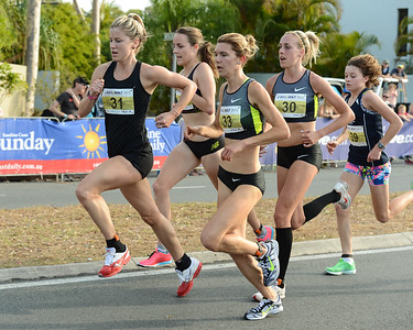 Georgina Clarke, Lucy Van Dalen, Susan Kuijken, Zoe BUCKMAN, - 2012 ASICS Bolt 5km Run (Asics 5k Bolt) - Men & Women; Mooloolaba, Sunshine Coast, Queensland, Australia; 03 November 2012. Photos by Des Thureson