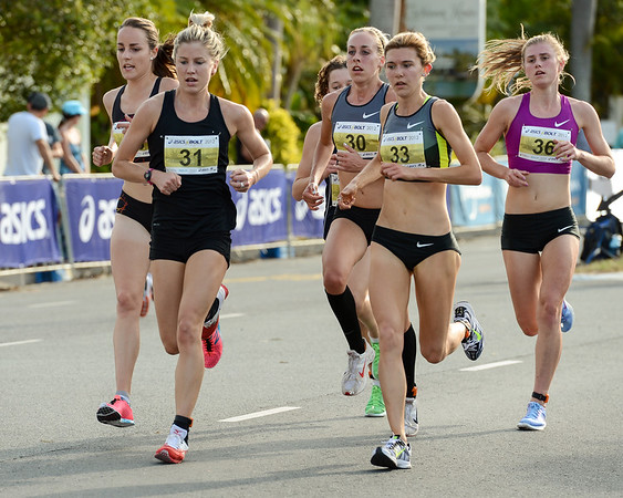Georgina Clarke, Lucy Van Dalen, Zoe BUCKMAN, Sarah Deuble - 2012 ASICS Bolt 5km Run (Asics 5k Bolt) - Men & Women; Mooloolaba, Sunshine Coast, Queensland, Australia; 03 November 2012. Photos by Des Thureson