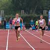 Evgenia Balabinka, Kaat Hooybergs, Elien Hooyberghs & Paulien Wouters op de 100 M