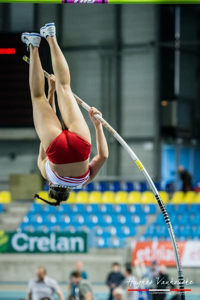 Laura Quirin (DCLA) @ Polsstokspringen - Belgisch Kampioenschap Indoor Atletiek 2016 - BLOSO Topsporthal - Gent