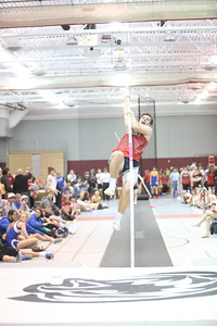 Sidney's Jonathan Smith launches in the Pole Vault, during the Chadron State High School Invitational at the Nelson Physical Activity Center in Chadron. Smith placed third.
