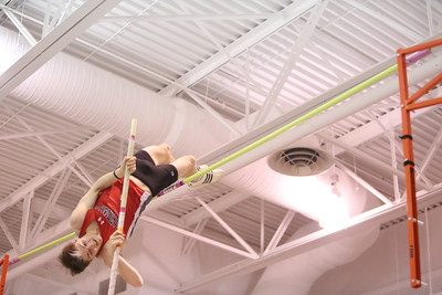 Chadron's Joe Ritzen clears the bar in the Pole Vault, during the Chadron State High School Invitational at the Nelson Physical Activity Center in Chadron. Smith placed first.
