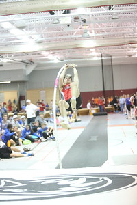 Chadron's Joe Ritzen launches in the Pole Vault, during the Chadron State High School Invitational at the Nelson Physical Activity Center in Chadron. Smith placed first.