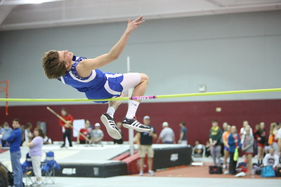 Alliance's Trevor Ridenour dirng the boys high jump,  during the Chadron State High School Invitational at the Nelson Physical Activity Center in Chadron. Ridenour placed first