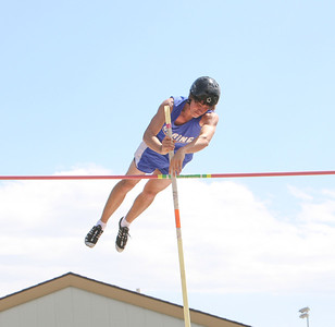Gering's Kyle Gaudreault clears 12.3 during compitiotion. He would get second place with the same height as the winner 12.9 but have more misses.