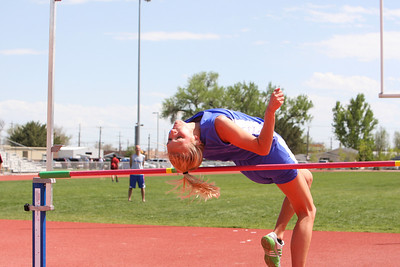 Gering's Morgan Green attempt 5-6 after winning the girls high jump with a 5-4 jump