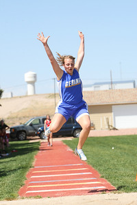 Gering's Kayleigh Schadwinkel jumps for a fifth place finish in the long jump