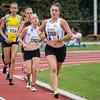 Reeks 2 van de 800 M geleid door Maya Corstjens, gevolgd door Marte Truyers, Elien Lembrechts, Silke Jacobs en enkele onherkenbare atletes