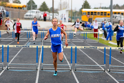 Gering's Chelsea  Wickard finished first in the girls Div I 300 meter hurdles