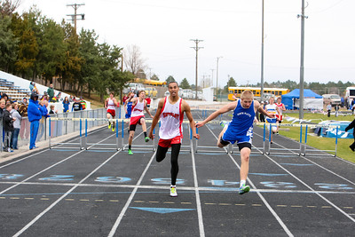 Scottsbluff's Isaiah Castellaw finished first just in front of North Platte's Trevor Schramm in the boys 300 meter hurdles. time 40-29
