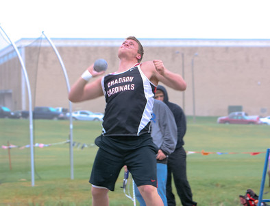 Chadron's Tyson Budler wins the boys shot put with a throw of 51-9 1/2