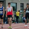 Start van de 800 M Juniors met vlnr Iwein Bau (AV Roeselare), Tomas Sisk (DCLA) & Marius De Bruyn (Eendracht Aalst) - Julien Saelens Stadion - Brugge - West-Vlaanderen