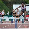 De Jamaicaanse Abigail Chelsea Lewis (CABW) wint de wedstrijd - 400 M Horden - BK Juniors & Beloften - Julien Saelens Stadion - Brugge - West-Vlaanderen
