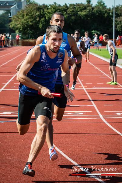 Antoine Gillet (Excelsior Brussel) op de 4 x 200 M - BK Aflossingen 2015 - AS Rieme Atletiekpiste - Ertvelde - Oost-Vlaanderen