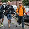 Aankomst van een deel van het 4 x 400 M team met vlnr Mathias Sanctorum, Lars Oosterlinck & Yngwie Vanhoucke