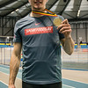 Mathias Sanctorum na het behalve van de Belgische titel op de 400 M - Belgisch Kampioenschap Indoor Atletiek - BLOSO Topsporthal - Gent