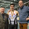 Mathias Sanctorum geflankeerd door zijn grootvader Jean Vanacker & zijn vader Bart Sanctorum - Belgisch Kampioenschap Indoor Atletiek - BLOSO Topsporthal - Gent