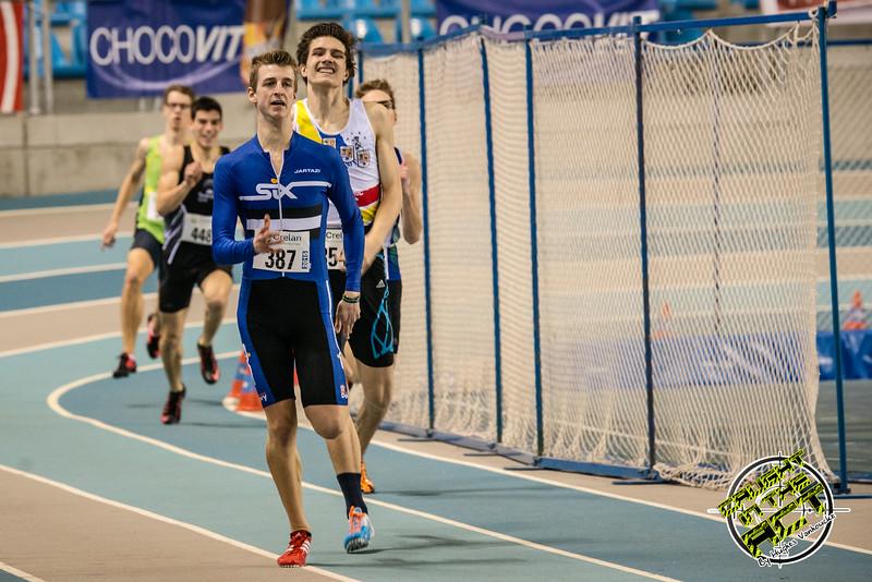 400 M juniors met Alexander Doom, Christian Iguacel, Yannick Verhasselt, Kasper Coppieters & Maarten Raes - 400 M - Belgisch Kampioenschap Indoor Atletiek - BLOSO Topsporthal - Gent