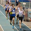 Robbe Vanhoof uit Menen aan kop van reeks 2 - 400 M - Belgisch Kampioenschap Juniors & Beloften - BLOSO Topsporthal - Gent